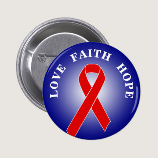 Red Awareness Ribbon   your message Pinback Button