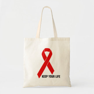 Red Awareness Ribbon   your message Tote Bag