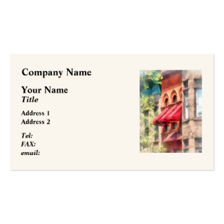 Red Awnings on Brownstone Hoboken NJ Business Card
