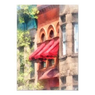 Red Awnings on Brownstone Hoboken NJ Card