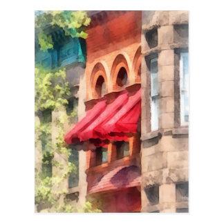 Red Awnings on Brownstone Hoboken NJ Postcard
