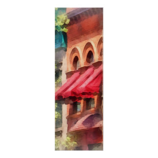 Red Awnings on Brownstone Hoboken NJ Poster