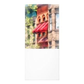 Red Awnings on Brownstone Hoboken NJ Rack Card