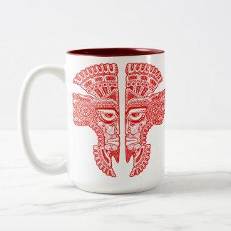 Red Aztec Twins Two-Tone Coffee Mug