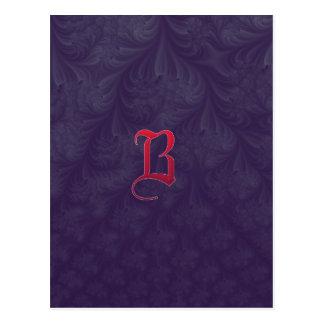 Red 'B' on purple embossed effect 3D fractal. Postcard