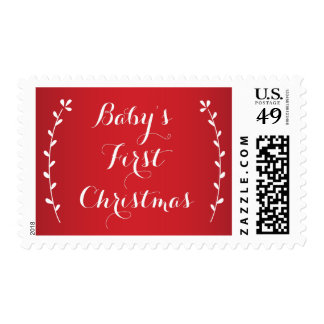 Red Babies First Christmas Postage Stamps