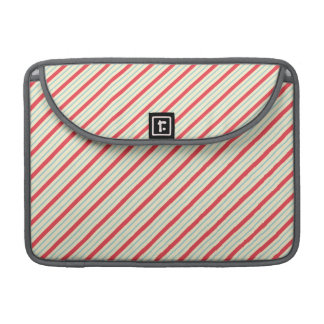 Red, Baby Blue, and Off-White Diagonal Stripes MacBook Pro Sleeve