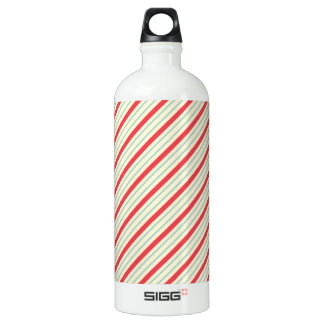 Red, Baby Blue, and Off-White Diagonal Stripes Water Bottle