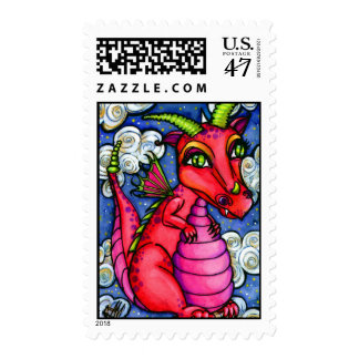 Red Baby Dragon Cute Animal Postage Stamps