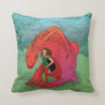 Red Baby Dragon Throw Pillows