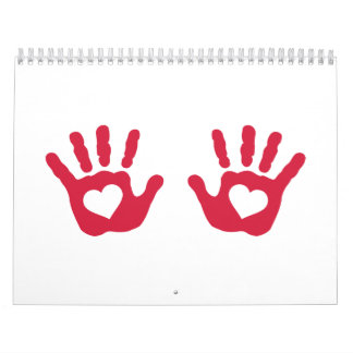Red baby hands hearts wall calendars