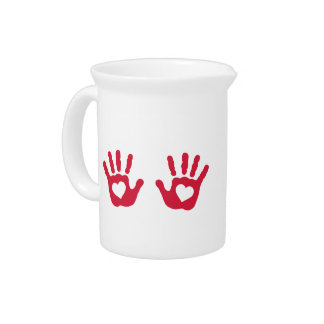 Red baby hands hearts pitchers
