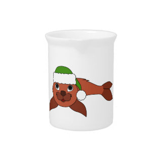 Red Baby Seal with Christmas Green Santa Hat Pitcher