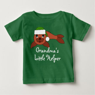 Red Baby Seal with Christmas Green Santa Hat Shirt