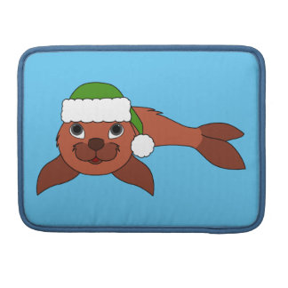 Red Baby Seal with Christmas Green Santa Hat Sleeve For MacBook Pro