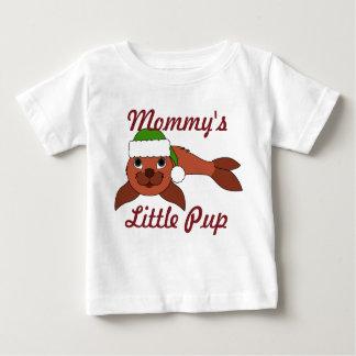 Red Baby Seal with Christmas Green Santa Hat Tee Shirt