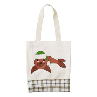 Red Baby Seal with Christmas Green Santa Hat Zazzle HEART Tote Bag