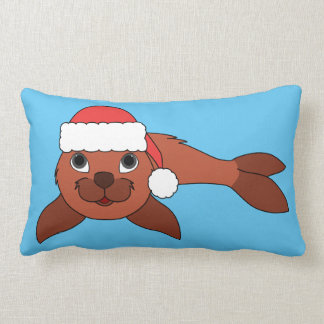 Red Baby Seal with Christmas Red Santa Hat Lumbar Pillow