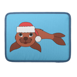 Red Baby Seal with Christmas Red Santa Hat Sleeve For MacBook Pro