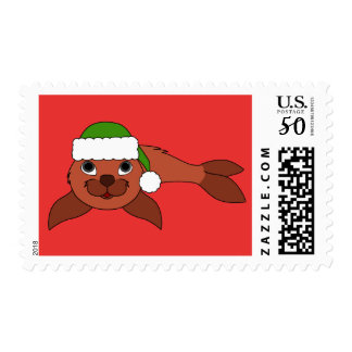 Red Baby Seal with Green Santa Hat Postage
