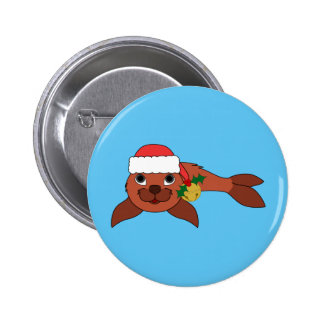 Red Baby Seal with Santa Hat & Gold Bell 2 Inch Round Button