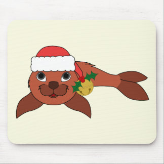 Red Baby Seal with Santa Hat & Gold Bell Mouse Pad