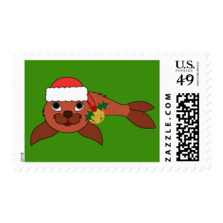 Red Baby Seal with Santa Hat & Gold Bell Postage