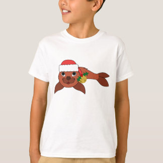 Red Baby Seal with Santa Hat & Gold Bell T-Shirt