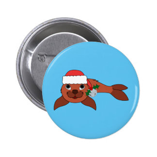 Red Baby Seal with Santa Hat & Silver Bell 2 Inch Round Button
