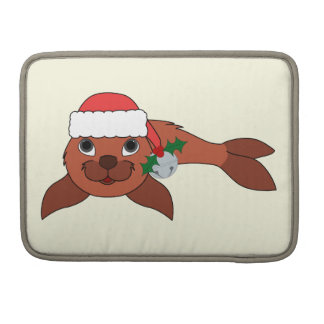 Red Baby Seal with Santa Hat & Silver Bell MacBook Pro Sleeve