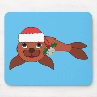 Red Baby Seal with Santa Hat & Silver Bell Mouse Pad