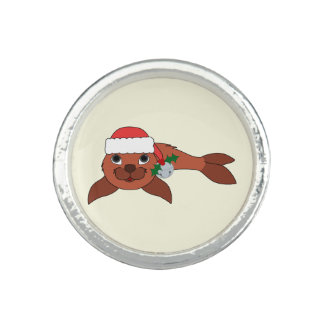 Red Baby Seal with Santa Hat & Silver Bell Rings