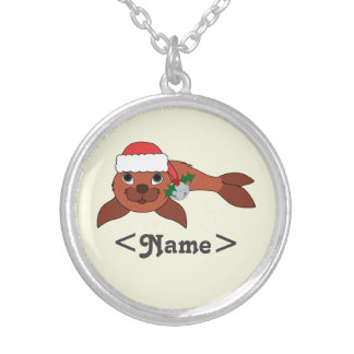 Red Baby Seal with Santa Hat & Silver Bell Round Pendant Necklace