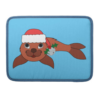 Red Baby Seal with Santa Hat & Silver Bell Sleeve For MacBooks