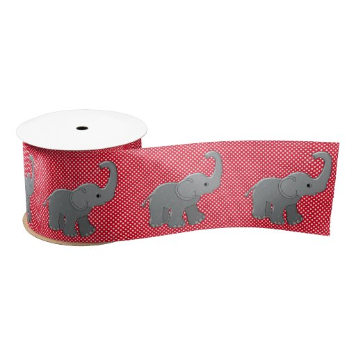 red baby shower elephant satin ribbon