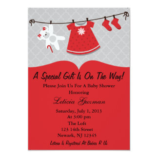 Red Baby Shower Invitation