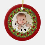 Red baby's first christmas wreath photo ornament