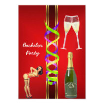 Red Bachelor Party Invitation