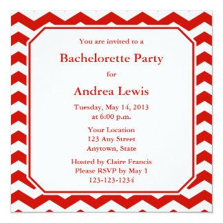 """Red Bachelorette Party Invite / Announcement 5.25"""" Square Invitation Card"""