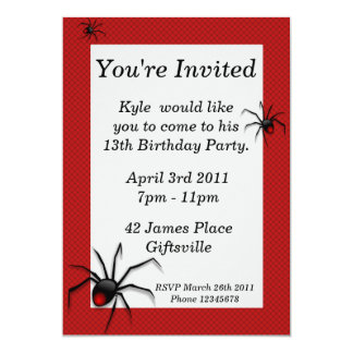 Red Back Spider Birthday Party Invitation