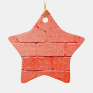 Red background of bricks with a layer of paint ceramic ornament