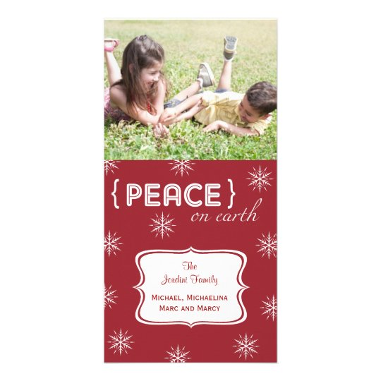Red Background Peace On Earth Photo Holiday Card