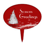 Red Background & White Christmas Tree Cake Topper