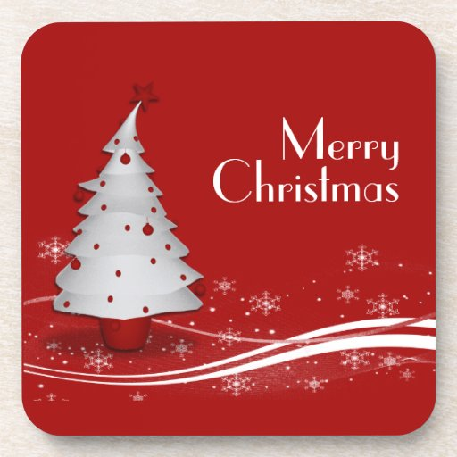 Red Background & White Tree Christmas Coaster