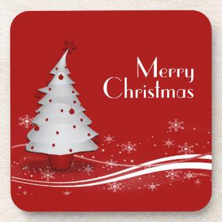 Red Background White Tree Christmas Coaster