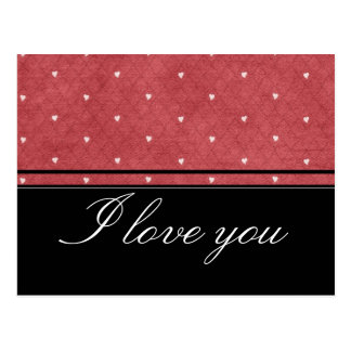 Red background with hearts and black stripes tarjetas postales