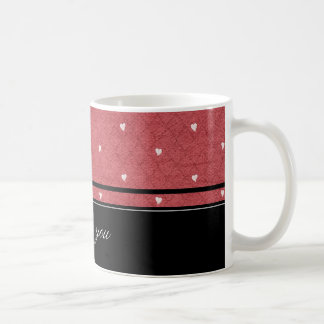 Red background with hearts and black stripes tazas de café
