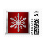 Red Background with Silver Snowflake Postage