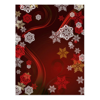 Red Background with Snowflakes 3 Postcard