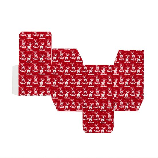 Red background with White Reindeer Gift Box